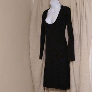 Black sweater dress with deep scoop neckline